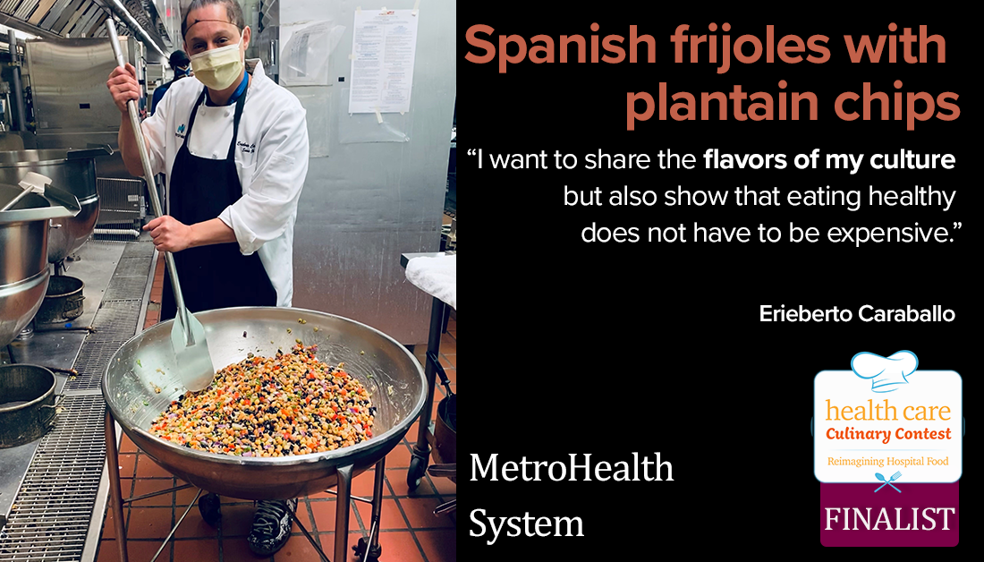 MetroHealth System's Spanish frijoles salad with plantain chips