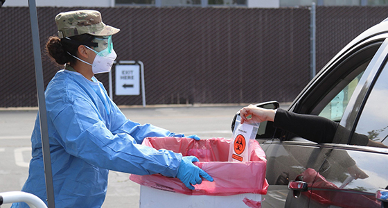 California National Guard supply specialist collects COVID-19 test