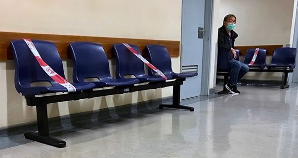 Social distancing in Macau Hospital
