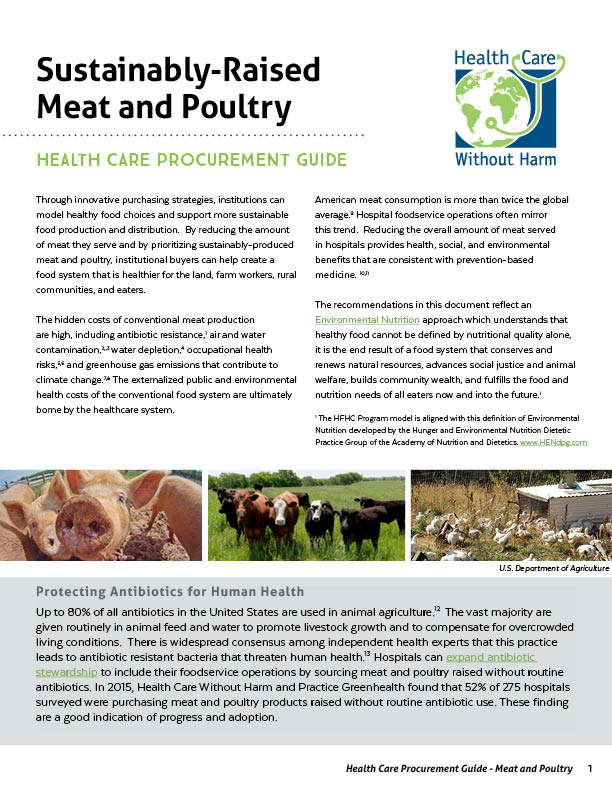 Health Care Procurement Guide: Sustainably-Raised Meat and