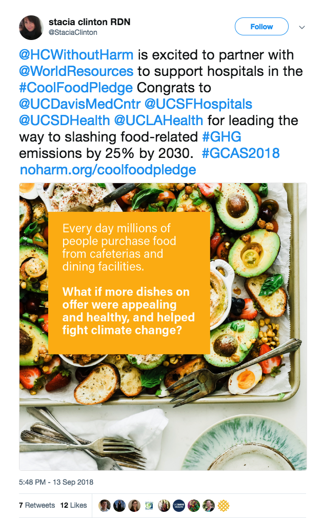 GCAS Cool Food Pledge tweet