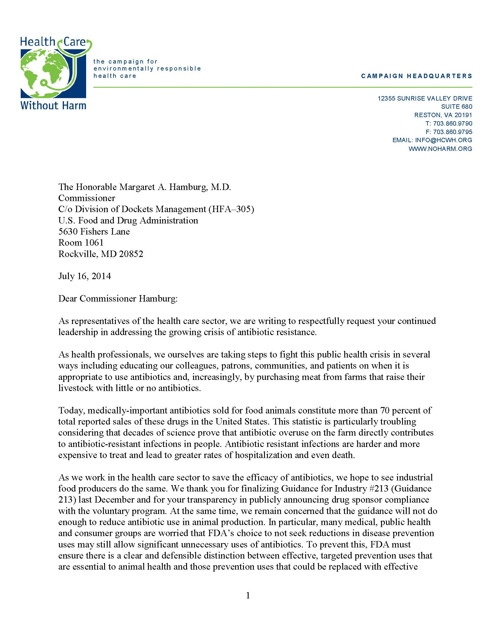Letter to FDA Commissioner
