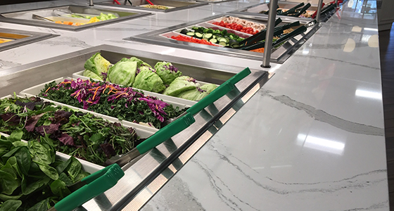 Penn Hospital salad bar with colored tongs_newsletters