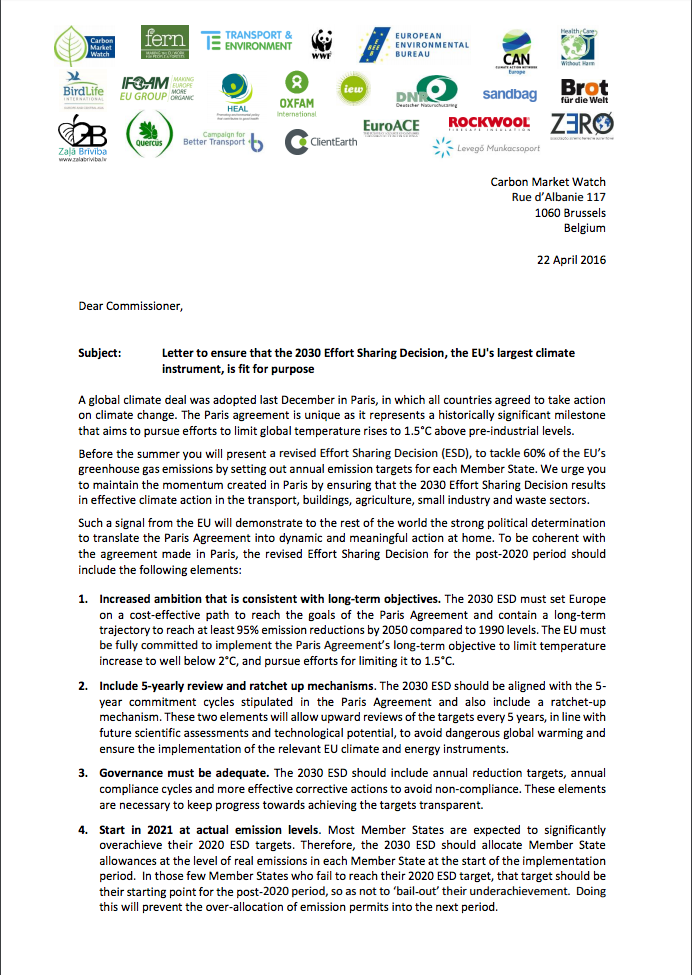Hcwh Europe Co Sign Letter To Ensure The 2030 Effort Sharing