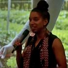 Leah Penniman presenting keynote address at EcoFarm conference
